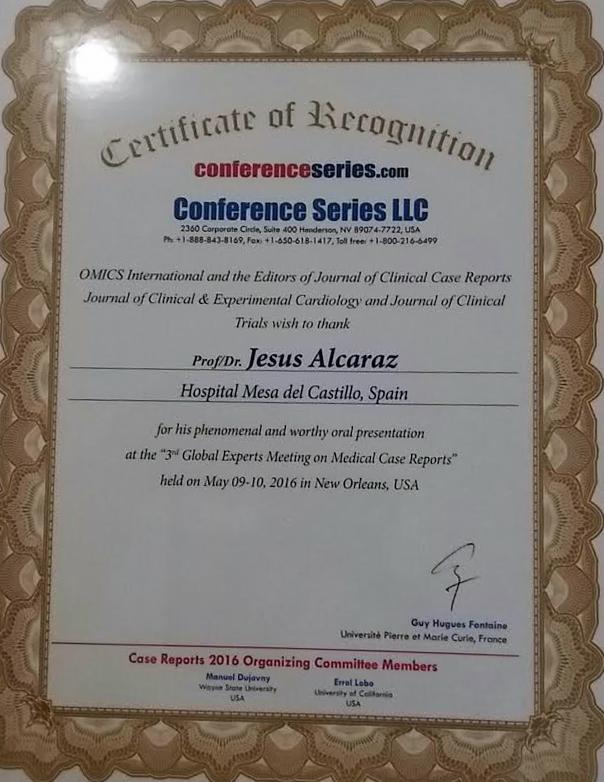 Nuestro hematólogo, premio internacional por su investigación con el Plasma Rico en Plaquetas